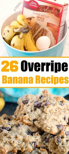 banana dessert recipes Overripe banana recipes, 25 of them! A great way to use brown bananas and these recipes are really delicious too. Try the banana cake! Leftover Banana Recipes, Healthy Banana Recipes, Banana Dessert Recipes, Desserts, Recipe Using Ripe Bananas, Recipes Using Bananas, Recipes For Overripe Bananas, Mini Bananas, Banana Oatmeal Cookies