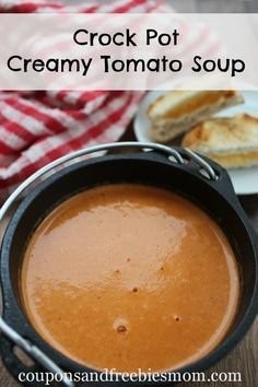 Crock Pot Creamy Tomato Soup! Simple & delicious Slow Cooker soup recipe! This will become a family favorite in no time. You won't believe how easy it is and perfect for those cooler fall days! Check out this super easy & yummy recipe now!