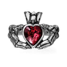 Alchemy Gothic Claddagh By Night Ring Red Heart w/ Skull & Skeleton Hands