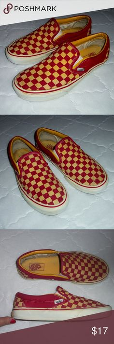 sale retailer bde3d f25d5 VANS checkered slip on sneakers 10 W , 8.5 M VANS yellow and red checkered  checkerboard