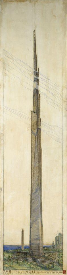 Frank Lloyd Wright's sketch for the Mile High Illinois Skyscraper