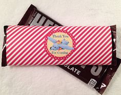 10 - Dumbo Hershey Bar Red Big Top Stripe Candy Bar Wrappers Birthday Party Baby Shower Favor Dumbo Party Supplies