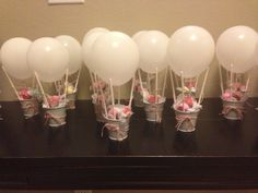 Mini hot air balloon party favors! I made them for my prego friend having her 1st girl!!!!