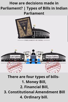 We will see Types of bills presented in the Indian parliament. We will see How a bill is passed in Parlime. General Knowledge Book, Gernal Knowledge, Knowledge Quotes, Government Lessons, Teaching Government, Indian Constitution, Indian Government, Exam Study Tips, Ias Study Material