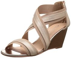 CL by Chinese Laundry Womens Nia SnakeGore Wedge Sandal GoldNatural 6 M US >>> For more information, visit image link.