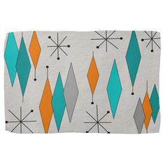 Shop Mid-Century Modern Diamonds Teal and Orange Kitchen Towel created by MCMstyle. Mid Century Modern Kitchen, Mid Century Dining, Mid Century Modern Art, Mid Century Art, Mid Century Decor, Modern Prints, Mid-century Modern, Modern Colors, Modern Wall
