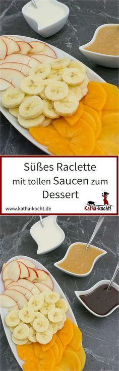 Sweet raclette for dessert - Katha cooks! - A sweet raclette with great sauces is just perfect as a dessert – if it is still done with little - Winter Desserts, Fun Desserts, Dessert Recipes, Cheese Appetizers, Appetizers For Party, Appetizer Recipes, Appetizer Ideas, Casserole Recipes, Crockpot Recipes