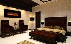 Electric fireplace, lamps