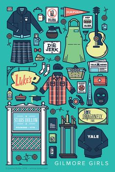 Gilmore Girls TV Parts Poster by EmmaButlerDesign on Etsy