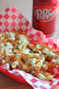 Buffalo Ranch Fries - Super crisp french fries drizzled with Frank's Red Hot, crumbled blue cheese and easy homemade Ranch dressing!