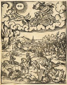 Mars from a series of The Planetary Gods and their Children. After Pencz (H.91); Mars riding a chariot drawn by dogs to left; below a landscape with murdering and plundering soldiers; from a series of the seven planetary gods with contemporary scenes illustrating activities associated with them. After: Georg Pencz Attributed to: Virgil Solis School/style: German  Date: 1530-1562 Materials: paper Technique: woodcut British Museum number: E,9.137