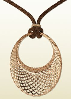 Gucci Pink Gold Diamantissima Pendant Necklace www.pinterest.com/BonnieWPhotos/
