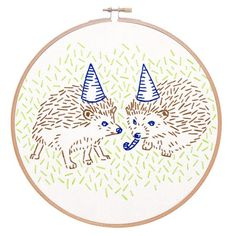 Hand Embroidery Design HEDGEHOG PARTY embroidery kit - hand embroidery kit, embroidery hoop art, hedgehog art by StudioMME - Embroidery Needles, Embroidery Fabric, Learn Embroidery, Hand Embroidery Stitches, Modern Embroidery, Embroidery For Beginners, Embroidery Hoop Art, Hand Embroidery Designs, Embroidery Techniques