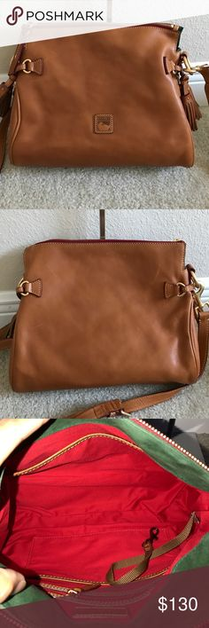 """Dooney& Bourke Florentine Leather Medium Zip Cross Dooney & Bourke Florentine Leather Medium Zip Crossbody. Preown in good condition. Some scratches and scuff marks. Front and back of purse. Please see pictures for more detail Comes with strap color natural. Measures approximately 12-3/4""""W x 8""""H x 5-1/2""""D with a 22"""" to 25"""" strap drop; weighs approximately 2 lbs, 1 oz Body/trim 100% leather; lining 100% cotton Dooney & Bourke Bags Crossbody Bags"""
