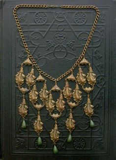 Art Deco Necklace Cascading Bib Olive Droplets Feather by TheDeeps, $240.00