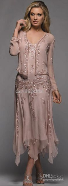 Wholesale Knee Length - Buy New Style !High Quality Elegant Mother Of The Bridal Dress/Unique Handmade Applique Beaded Knee Length With Long Sleeve Jacket, $139.87 | DHgate