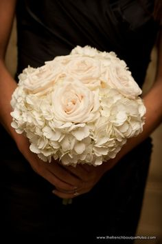 Simply Chic White Rose and Hydrangea Bridesmaid Bouquet - The French Bouquet - Chris Humphrey Photographer
