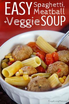 "Need a quick and easy fall, weeknight meal that won't take up too much of your time or break the bank? Try my Quick Spaghetti and Meatball Vegetable Soup Recipe for dinner. Healthy Canned produce is a great ""quick meal"" trick to have in your arsenal when life gets busy (which is ALL THE TIME). ad"