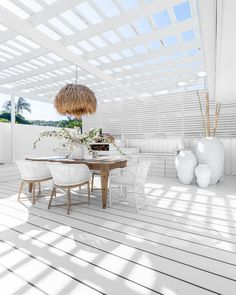 Interior And Exterior, Interior Design, Dining Chairs, Dining Table, Colored Ceiling, Reclaimed Timber, Space Images, Outdoor Dining, Outdoor Spaces