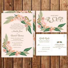 Floral Wedding Invitation Blush Pink Gold Green by BettyLuDesigns