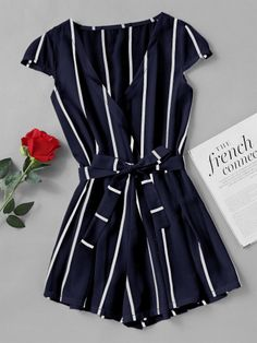 Joloo Jolee Sexy Vertical Striped Jumpsuit Romper Women Fashion Cross V Neck Overalls Casual Beach Belt Beach Playsuit 2018 Plus Size Maxi Dresses, Short Sleeve Dresses, Long Sleeve, Mode Outfits, Fashion Outfits, Jw Mode, Very Short Dress, Cute Casual Outfits, Women's Casual