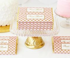 Personalized Elegant Scallop Candy Bar Wrappers from Sweet Paper Shop | Blush Pink & Gold Sweets Table styled with DIY Cake Stand - CB2 Plate Meets Vintage Gold Goblet | Shop more customizable candy wrappers & visit our blog to learn more!