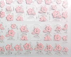 Elegant 3D Pink Flowers Nail Stickers Nail Art Decal Sticker for Women Hot Sale 2015