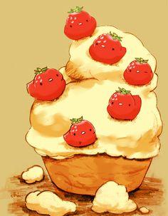「クロテッドクリームといちごのタルト」/「チャイ」のイラスト [pixiv]