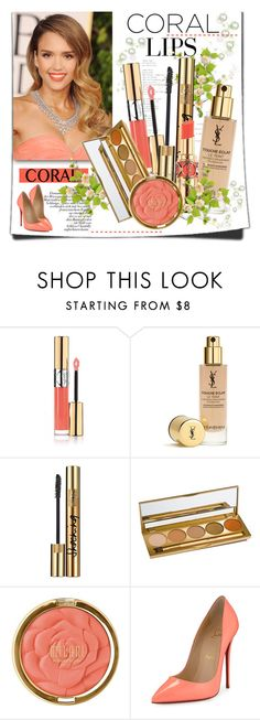 """""""Spring Beauty: Corals"""" by lilly-2711 ❤ liked on Polyvore featuring косметика, Yves Saint Laurent, Jane Iredale, Milani, Christian Louboutin, Beauty, YSL, christianlouboutin, jessicaalba и coolcorals"""