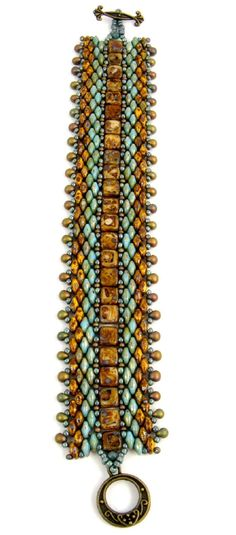 Beadweaving Tutorial Pattern Bracelet Superduo by SweetFreedom  netting and peyote stitches