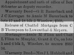 Release of Chattel Mortgage from C B Thompson. 23 Aug 1894. Article from St John's Arizona.