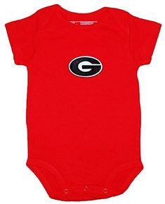 Georgia Bulldogs Red NCAA College Newborn Infant Baby Creeper 12 Months  ** For more information, visit image link. (This is an affiliate link) #BabyBoyFootiesandRompers
