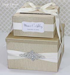 2 Tier Champagne Wedding card Box Crystal Card by LittleDivine