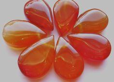 2 Lustrous Burnt Orange Carnelian Gemstone Satin by beadersheaven,
