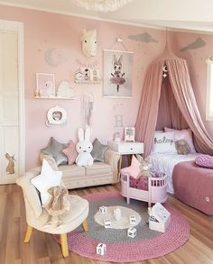 Stunning girls room - girls bedroom ideas and inspiration - Mrs Mighetto prints, pink theme, pink canopy, miffy, star cushions.