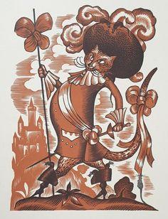 "LUCIEN BOUCHER ""Puss in Boots"", Original Woodcut 1928,  Antique Japan Paper RARE 15 December, Rooster, Fairy Tales, Japan, The Originals, Antiques, Prints, Animals, Illustrations"