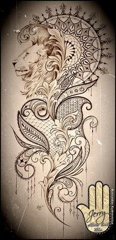 Beautiful lion mandala and lace tattoo idea design, mendi patterns and filigree. By Dzeraldas Kudrevicius Atlantic Coast Tattoo Cornwall