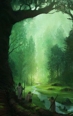 """""""Concerning Hobbits"""" by Jorge Miguel Tolkien, Fantasy Magic, Fantasy World, John Howe, Fantasy Kunst, Theme Nature, Concerning Hobbits, Fantasy Places, Fantasy Setting"""