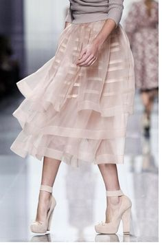 """""""Diaphanous"""" Knee-length See-through skirt in pink from the Fall 2012 collection by Christian Dior ©"""