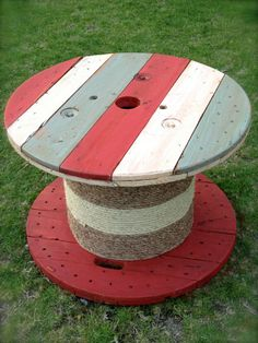 Rustic Americana Cable Spool Side Table or Coffee Table - red white and blue american flag table $200