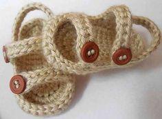 Sandália de crochê шлёпки демям