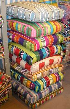 Colourful large floor cushions - what better way to relax than on one of our comfortable Stripes Company floor cushions UK Large Floor Cushions, Striped Cushions, Outdoor Cushions, Floor Pillows, Throw Pillows, Garden Cushions, Sewing Pillows, How To Make Pillows, Moroccan Decor