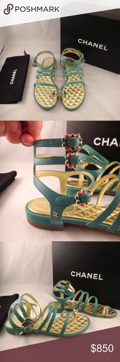 Chanel 15P Green Strappy Jewel Toe Ankle Gladiator Chanel 15P Green Strappy Jewel Toe Ankle Gladiator Flat Sandal Shoe 37 $1250  ********** Chanel **********  Brand: Chanel Size: 37 (know your Chanel size)  Name: Jewel Color: Green Style: 15P Style#: G30729X01000 Material: Lambskin Leather Retail: $1250+tax Gladiator style sandals Soft green lambskin leather Jewel toe accent Triple ankle strap adjustable jewel buck strap Silver CC side logo Brand new in box, comes with original box and dust…