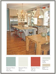 Master Bedroom color inspiration - Benjamin Moore Wythe Blue, cream and coral bedding Interior Paint Colors, Paint Colors For Home, Living Room Colors, Bedroom Colors, Wyeth Blue, Benjamin Moore Wythe Blue, Kitchen Breakfast Nooks, Colour Story, Favorite Paint Colors