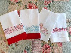 Redwork Christmas Holly Tea Towel Hand Embroidery by countrygarden