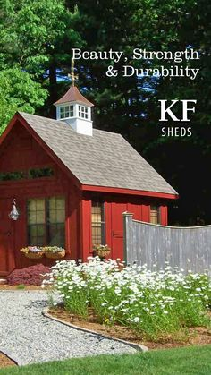 Beauty, Strength and Durability. Outdoor Buildings, Outdoor Structures, Free Shed, Transom Windows, Shed Design, Building A Shed, Built In Storage, Flower Boxes, Sheds