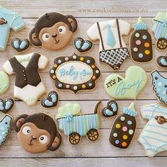 The set of baby shower cookies in monkey theme, actually really like the colour combo of chocolate brown,blue and mint green ☺️💕️💙💚 #babyshowercookies #babyboycookies #decoratedcookies #monkeythemebabyshower #nzcookier #nzcookiedecorator #cookieartist #cookieliciousnz