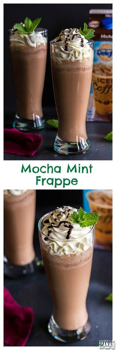 Iced Mocha Mint Frappe is the perfect drink to cool down on a hot day! Try this recipe during the dog days of summer. Non Alcoholic Drinks, Fun Drinks, Yummy Drinks, Cocktails, Yummy Food, Beverages, Cold Drinks, Smoothies, Smoothie Drinks