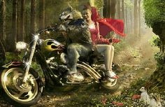 wolf little red riding hood motorbikes motorcycle desktop wallpaper She Wolf, Wolf Girl, Big Bad Wolf, Red Hood, Princesas Disney, Red Riding Hood, Akita, Illustrations, Little Red