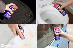 While you may keep a can in your garage, WD-40 is useful for tasks all around the house! Check out 31 of my favorite everyday uses for WD-40. Car Cleaning Hacks, Household Cleaning Tips, Toilet Cleaning, House Cleaning Tips, Diy Cleaning Products, Cleaning Recipes, Cleaning Supplies, Cleaning Car Windows, Remove Sticker Residue